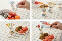 Wholesale Kids Bento - Cartoon Animal Mini Fruit Forks Set Cute Stainless Steel Kids Dessert Cake Bento Fork Sticks Kit Tableware For Children