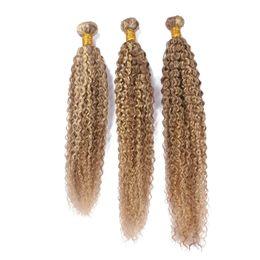 evidenzia la bionda marrone chiaro Sconti Virgin Brazilian Piano # 27/613 Evidenziare i peli di capelli umani di colore 3Pcs Kinky ricci marrone chiaro Biondo Piano Mix di estensioni dei capelli umani di colore