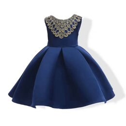 Wholesale Chinese Children Garments - Red Kids Dresses Party Birthday New Year Eve Colourful Gowns Summer Children Clothes Winter Daughter Garments Wholesale Christmas Daily Wear