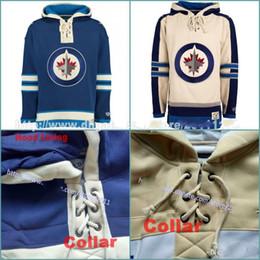 Wholesale Blank Blue Hoodie - Customized Men's Old Time Hockey Hoodies Jerseys Winnipeg Jets Blank Custom Jersey Hoodie Authentic Winter Sweatshirts Blue Cream Shirts