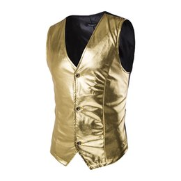 Wholesale Stage Clothing Gold - Wholesale- Paillette Male Sequins Stage Performance Costumes Men Vest MC Host Clothing Waistcoats Show Sleeveless Jackets Gold Silver