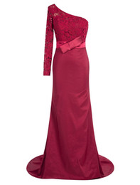 Wholesale Satin One Shoulder Tops - Dark Red Lace Top Mature Evening Dress with One Long Sleeve 2017 Elegant Long Prom Dress