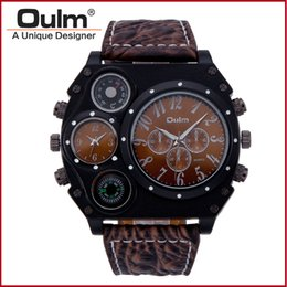 Wholesale Watch Time Compass Thermometer - OULM Brand Adventure Men's Quartz Military Watches with Dual Movt Compass & Thermometer Function Leather Band Wrist Men watch