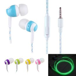 Wholesale Cheap Handsfree Earphones - cheap Glow In The Dark Earphones In-Ear Earbuds Super Bass Stereo Luminous Headset Glowing Handsfree With Mic