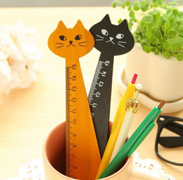 Wholesale Wood Rulers - 20Pcs Retro Zakka Style Cat Design Wood Ruler Kawaii Wood Cat Home Deco Craft Plaques Signs For Home Decor