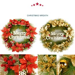 Wholesale Holiday Christmas Wreaths - Hot sale holiday gift Free shipping 40cm door act Christmas Wreath red and gold colour for Christmas holiday decoration gifts