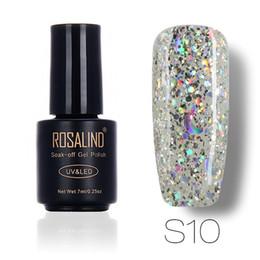 Wholesale Nail Art Stars - Wholesale-ROSALIND 3D Dimond Glitter UV Nail Gel Nail Art Manicure Star&Moon Nail Gel Lacquer Soak Off Base Top Gel Polish Makeup 7ML
