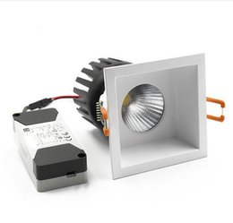 Wholesale Cut Lamp - square COB downlight led recessed spotlights replaceable light source ceiling lamp aluminum 110V-240V 6W 10W 15W cut hole 75mm