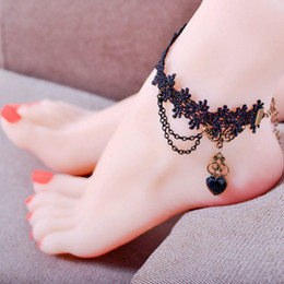 Wholesale Girls Lace Anklets - Handmade Heart Black Gem Charm Gothic Jewelry Black Lace Women'S Anklets Women Accessories Vintage Foot Jewelry