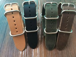 wholesale horse watches Promo Codes - Wholesale-Special offer 20 22 24 26mm Crazy Horse Leather Watchband, Fashion NATO Watch Strap,Free Shiping