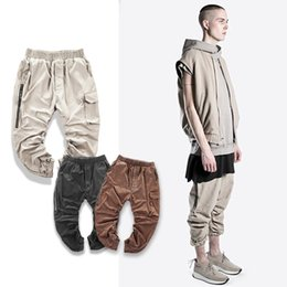 Wholesale Fashion Jumpsuit Harem - hiphop black khaki olive green kanye west fashion chino designer tactical harem men's joggers jumpsuit capri cargo pants
