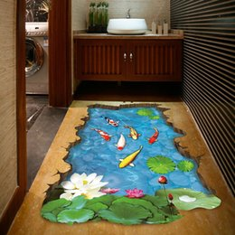 Wholesale kids 3d wall art - XH-9219 3D Pool Floor Sticker Fishes Water Decal Pastoral Mural Wall Art Pastoral Poster Bathroom 3D Floor Stickers