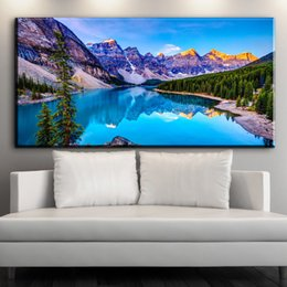 Wholesale Mountain Wall Painting - ZZ1548 modern canvas art beauful mountain lake scenery canvas oil art painting wall pictures for livingroom bedroom decoration