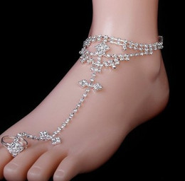 Decoracion playa online-Cristal de las mujeres sandalias descalzas pie joyería decoración tobillera cadena sandalia de playa con anillo del dedo del pie nupcial accesorio de señora Party Anklet