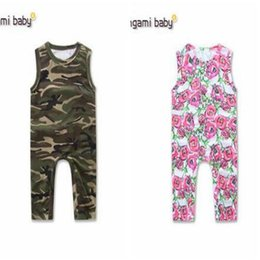 Wholesale Camouflage Outwear - Baby Floral Romper 2017 Summer Sleeveless Camouflage Baby Onesies Boy Girl Jumpsuit Toddler Outfit Infant Outwear Bodysuit Baby Clothes 95