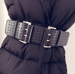 Wholesale Wholesale Designer Belts For Women - Wholesale- 2017 Designer wide Belts For Women Fashion Double Metal Buckles hollow Leather New High Quality for women