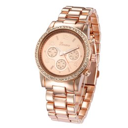Genf rhinestone-legierungsuhr online-Neue Ankunftsfrauen 2013 Rhinestone-Uhren GENEVA-Legierungs-Uhren analoge digitale Frauen kleiden Uhruhr rosafarbenes Gold