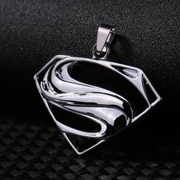 Wholesale Chain Links Jewellery - Wholesale Fashion Unisex's Men Women Superman Sign Sliver Stainless Steel Cross Pendant Necklaces Chain Items Male Jewellery