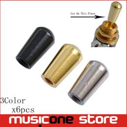 6pcs latão alternar botões de guitarra knob ponta botões cap para guitarra elétrica - cromo - preto - ouro - rosca interna 3.5mm de