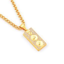 Deutschland Mens Hip Hop Sound Medaille Anhänger Halsketten Design Schmuck Füllung Stücke Männer Golden Hip Hop Fashion Kette Halskette w / 29.5