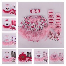 Wholesale Toddler Girl Romper Long Leg - 2017 Kids Clothing Set Christmas Baby Clothes Print Girls Winter Boutique Children Toddler Outfits Romper Leg Warmers Shoes Headband