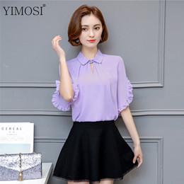 Wholesale Korean Lady S Shirt - YIMOSI Women Summer Blouse Loose Shirts 2017 Casual Ruffles Sleeve Chiffon Lady Shirt Tops Plus Size 4XL Korean Female Blouses