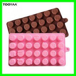 Wholesale Molds For Candy - 28 Grids Creative Emoji Expression Baking Molds Cute Silicone Molds For Cake Chocolates Candy Ice Emoji Kitchen Baking Tools