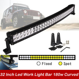 Wholesale Trailer For Atv - 32 inch 180W Curved Car Led Work Light Bar Spot Flood Combo Beam LED Driving Fog Roof Lamp for Offroad SUV ATV Jeep Boat Trailer 4x4 Truck