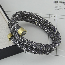 Wholesale Swan Set - Jewelry wholesale small Swan double circle crystal drill, open bracelet, ladies color diamond, crystal drill double layer glue drill Bracele