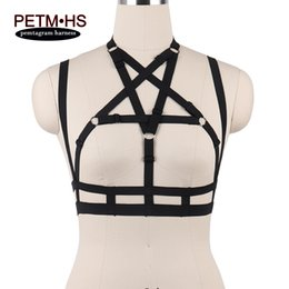 Wholesale Harness Belt Fashion - fashion chest straps Bondage Pentagram Harness sexy bra Black Elastic Strappy Tops Cage Bra women fashion goth witchy bondage harness belt