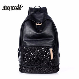 Wholesale Large Leather Laptop Backpacks - Wholesale- AEQUEEN Backpack Women Large Capacity Embroidered Sequins Leather Backpacks School Bags For Teenage Girls Laptop Rucksack