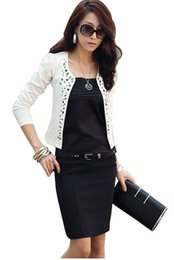 Wholesale Wholesale Long Sleeve Shrugs - Wholesale- S~L New Lady\'s Long Sleeve Shrug Suits small Jacket Fashion Cool Women\'s Rivet Coat Black And White color Drop shipping