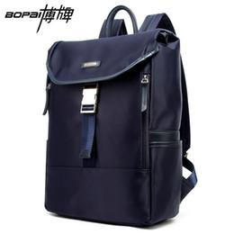 Wholesale Travel Back Bags For Men - Wholesale- BOPAI Korean School Bags Waterproof 14 Inch Laptop Backpack Weekend Travel Men Back Packs Nylon Blue Color Daypacks For Travel