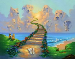 Wholesale Rainbow Heaven - RAINBOW BRIDGE All Dogs Go to Heaven Art Print On Canvas. NO.J003