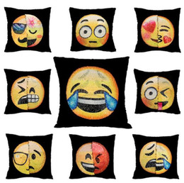 Wholesale Hotel Cafe - Reversible Mermaid Sequin Pillow Case Cushion Emoji Poop Smiley Face Pillow Magical Double Emoji Sequins Almofada Cafe Home Decor Sofa Bed