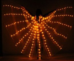 Wholesale Red Light Sticks - Wholesale Butterfly Luminous led programmable Isis Wings with Led lights For Stage Use belly dance accessoris with sticks for adults