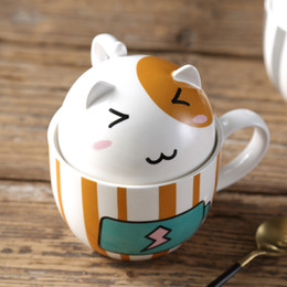 Wholesale Personalized Gifts Children - Kawaii Cartoon Lover Mug with Lid Creative Personalized Porcelain Milk Tea Cup 350ml Cute Tumbler for Girl Friend Children Gift
