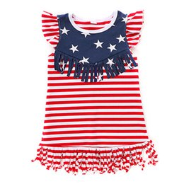 Wholesale Red White Blue Striped Flag - 4th Of July Baby Girls Dress Red Blue White Striped American Flag Baby Girls Clothes Ruffle Sleeve Children Festival Kids Clothing