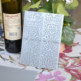 Wholesale Elegant Invitation Paper - Wholesale- 50  lot laser cut weddings invitations cards made in china,silver pearl paper elegant wedding invitations