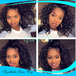 Wholesale Synthetic Wig Black White - Long Curly Synthetic Lace Front Wigs for Black Women Afro Kinky Curly Lace Front Synthetic Wig Heat Resistant Japanese Fiber Wig