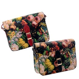 Wholesale Oil Painting Bags - Wholesale-Women's Love Korean Style Oil Painting Printed Handbag Elegant Messenger Bag Leisure Envelope Bag HB88