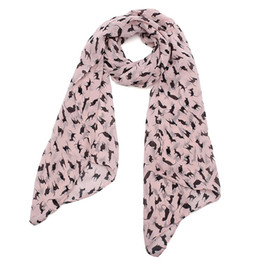 Wholesale Graffiti Color Printing - Wholesale-2015 HOT New Graffiti Cat Kitten Print Scarf Wraps Chiffon Silk Scarves Black Color Warm Wrap Shawl Women Clothes Accessories