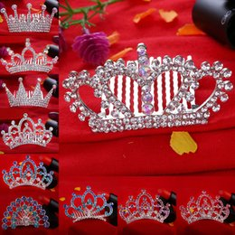 Wholesale Wedding Rhinestone Comb Wholesale - Frozen crown headdress hair Sticks Hair Comb Tiaras kids Children's cartoon comb Claws Peacock Crystal Wedding Crown Bridal hairpin 170304