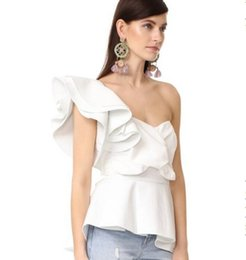 Wholesale White Blouse Black Bow - Autumn Women's One Shoulder Ruffles Blouses Shirts Black White High Waist Elegant Party Tops S M L for Office Ladies Work Wear Clothing