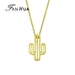 Wholesale Metal Slide Charms - New Style Fashion Gold-Color Silver Color Long Chain With Cactus Shape Metal Pendant Necklace For Women