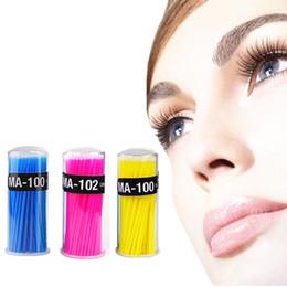 Wholesale Eyelash Extensions Green - Wholesale-100pcs Box Disposable Eyelash Extension Clean Brush Swab Makeup Removing Cleaning Brush Tool Pink Green Yellow