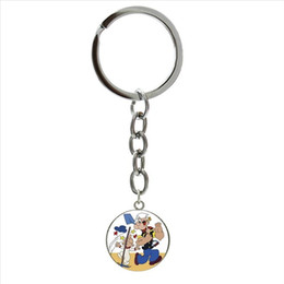 keychain picture NZ - Silver jewelry plated keychain Cartoon Popeye Sailor art picture men gifts party accessories key chain father husband gift NS460