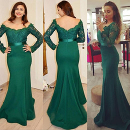 Wholesale Teal Trumpet Dress - 2017 Modest Teal Green Formal Evening Dresses Off the Shoulder Illusion Lace Long Sleeves Vestidos Festa Mermaid Prom Gowns with Sash