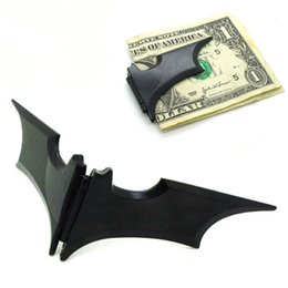 Wholesale magnetic clip wallet - 2017 New DIY Blank Money Clip Black Bat Stainless Steel Metal Money Clip Credit Card Holder Batman Alloy Metal Magnetic Wallet WX-W14