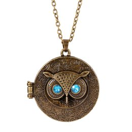 blue eye pendants for women Coupons - Wholesale-Occident Retro Vintage Crystal Charms Blue Eye Owl Round Box Opening Locket Pendant Sweater Necklace For Women Antique
